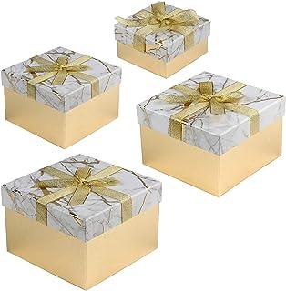Boîte Cadeau Carrée avec Couvercle en Papier - Petite Boîte de Rangement - 4 Tailles Assorties - Convient pour Cadeaux, De...