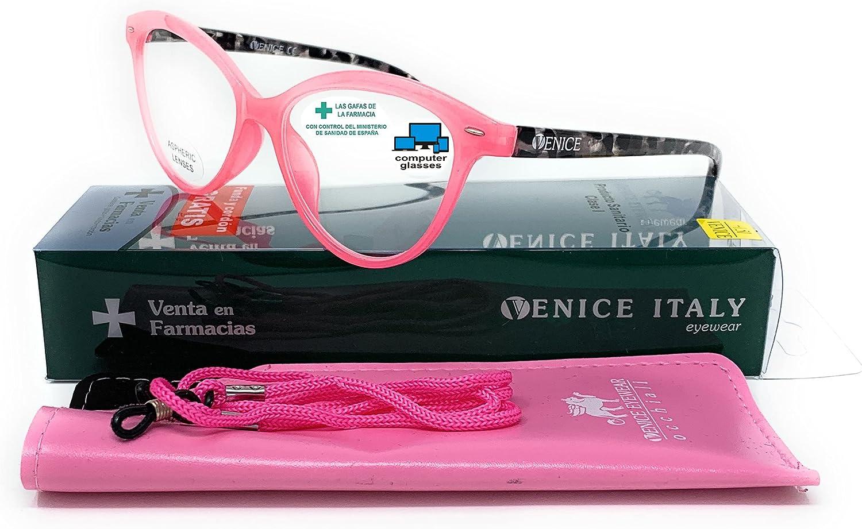 Gafas de lectura presbicia Mujer Diseño en Colores: Verde, Rojo, Rosa, Negro. VENICE Zenny - Dioptrías: 1 a 3,5 (Rosa con Blue Block, +2,50)