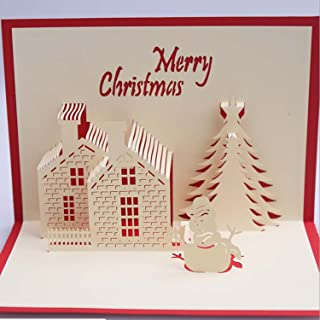 Nacodex Folded Pop Up 3D Greeting Cards Handmade Valentines Day Mother's Day Card, Springtime Card, Birthday Card for Mom, Wife, Kids, Boy, Girl, Friend (Christmas Cottage-Red-1364)