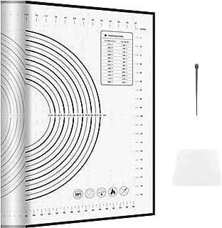 AMZOYO Très Grand 80cm x 60cm Noir Tapis de Pâtisserie en Silicone avec Mesures, Tapis de Cuisson Antidérapant,Tapis de Ro...