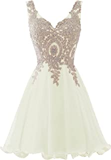 Short Beaded Gold Lace Prom Dress Homecoming Cocktail Party Gowns