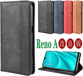 OPPO Reno A ケース【MARR】 スマホケース 手帳型 シンプル カバー 手帳型ケース 高級PU レザー カバー カードポケット 手作り スタンド機能付き 全面保護 マグネット 吸着