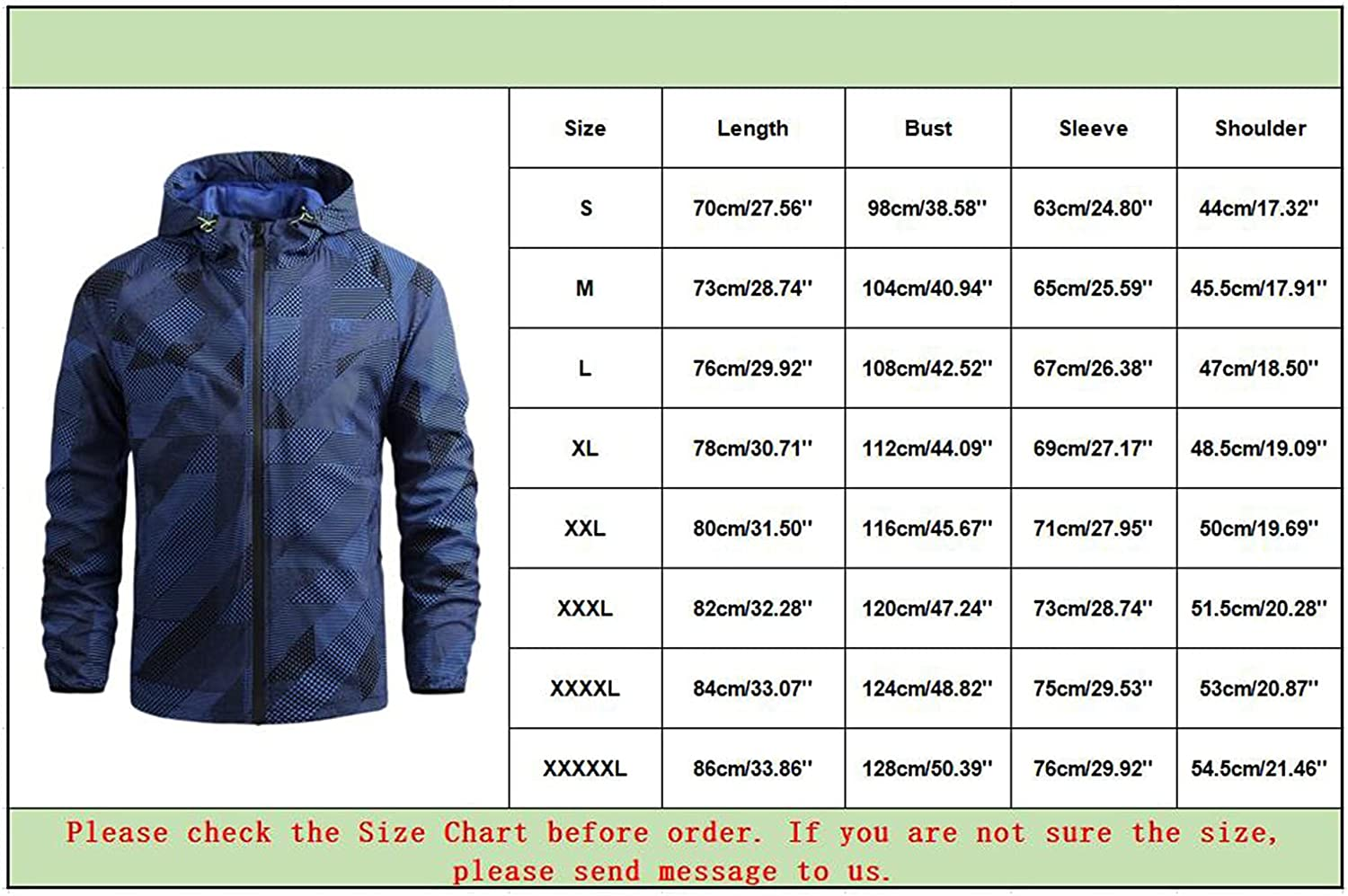 Jacket for Men Casual Printed Hooded Windproof Outdoor Thin Jacket Hiking Coat Tops Blouse Lightweight Outwear