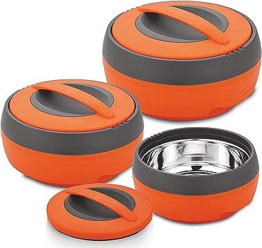 Asian Cosmos Inner Steel Casserole Gift Set of 3 (600, 1000, 1500 ML) Orange