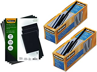 "Fellowes Binding Linen Presentation Covers, Letter Binding Linen Covers + Plastic Spines, 1/2 in Covers with 3/8"" Combs"
