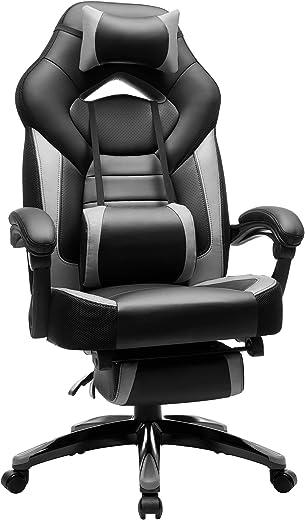 SONGMICS Gamingstuhl, Bürostuhl mit Fußstütze, Schreibtischstuhl, ergonomisches Design, verstellbare Kopfstütze, Lendenstütze, bis zu 150 kg…