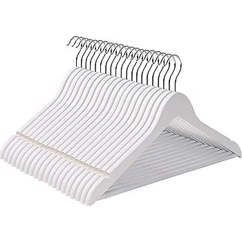 SONGMICS Grucce Appendiabiti in Legno d'Acero, 100 Pezzi Grucce Portabiti per Appendere gonne e Pantaloni, 44,5 x 1,2 x 23 cm, Girevole a 360 Gradi, Colore Bianco CRW03W-100