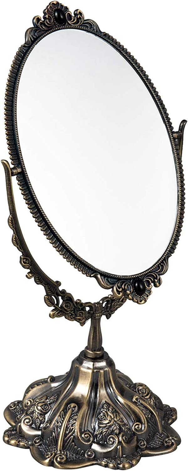 Feyarl 11.2 inch Vintage Makeup Mirror Floral Tabletop Oval Vanity Mirror with Stand Dressing Room Swivel Double Sided Elegant Decorative Mirror Embossed Frame (Bronze)