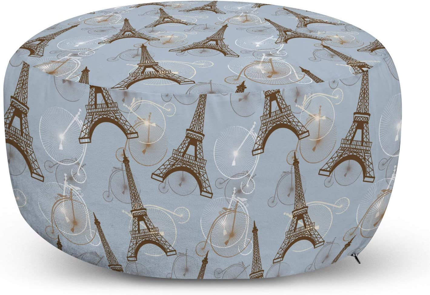 Ambesonne Eiffel Ottoman Pouf, Retro Style Abstract Composition with Bicycles and Paris City Landmark, Decorative Soft Foot Rest with Removable Cover Living Room and Bedroom, Blue Brown