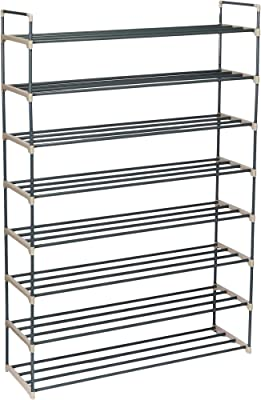 Home-Complete HC-2105 - Zapatero con 8 estantes para 48 Pares de estantes, para recámara, Entrada, Pasillo y clóset, Color Gris