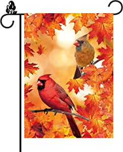 Male Female Northern Cardinals Fall Garden Flag Leaves Bird Burlap Vertical Double Sided 12.5 x 18 Inch Outdoor Decorations Autumn Yard Decor