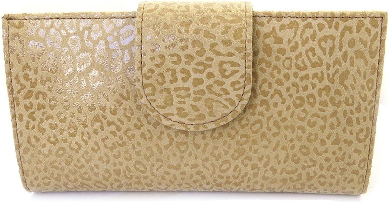 Leather checkbook holder 'Frandi' camel (leopard).
