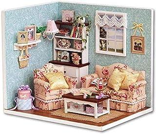 XYZMDJ Trä-handgjorda dockor miniatyr, återförening med lyckoserie miniatyr scen av trä dockhus