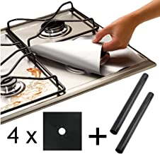 Spares2go Universal Heavy Duty Oven Liner & Gas Hob Protector Sheets (Pack Of 4 Black Sheets + 2 x Liner)
