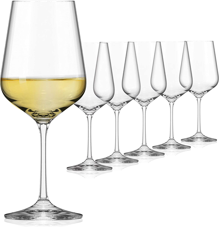 SAHM Copas de Vino Blanco de 360ml | 6 unidades | Vasos Cristal | Copa de Vino Blanco apta para el lavavajillas | Copas de Vino Originales