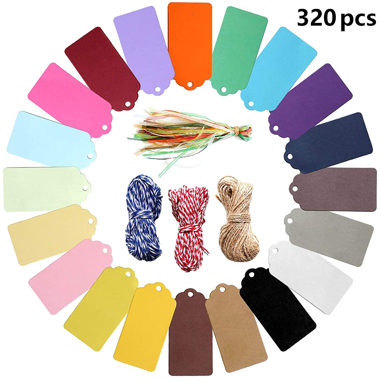320 PCS Gift Tags Sign with String,Party Favor Paper Kraft Tags Treats Tags Scrapbook Cards Escort Card,Name Place Cards Hanging Sign Tags for Decoration Gifts,Arts & Crafts