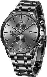 LIGE Relojes para Hombre Negro Negocios Casual Fecha Cronógrafo Puntero Colorido Reloj para Hombre Banda de Acero Inoxidab...