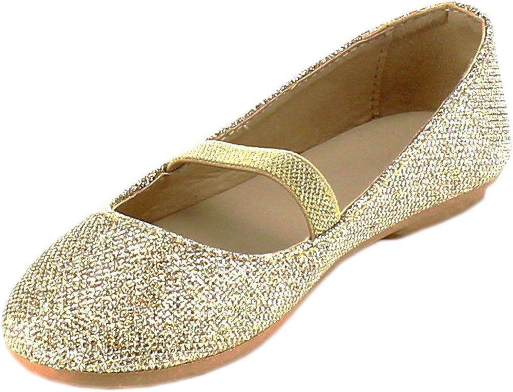 Cambridge Select Girls' Round Toe Glitter Stretch Mary Jane Ballet Flat (Toddler/Little Kid/Big Kid)