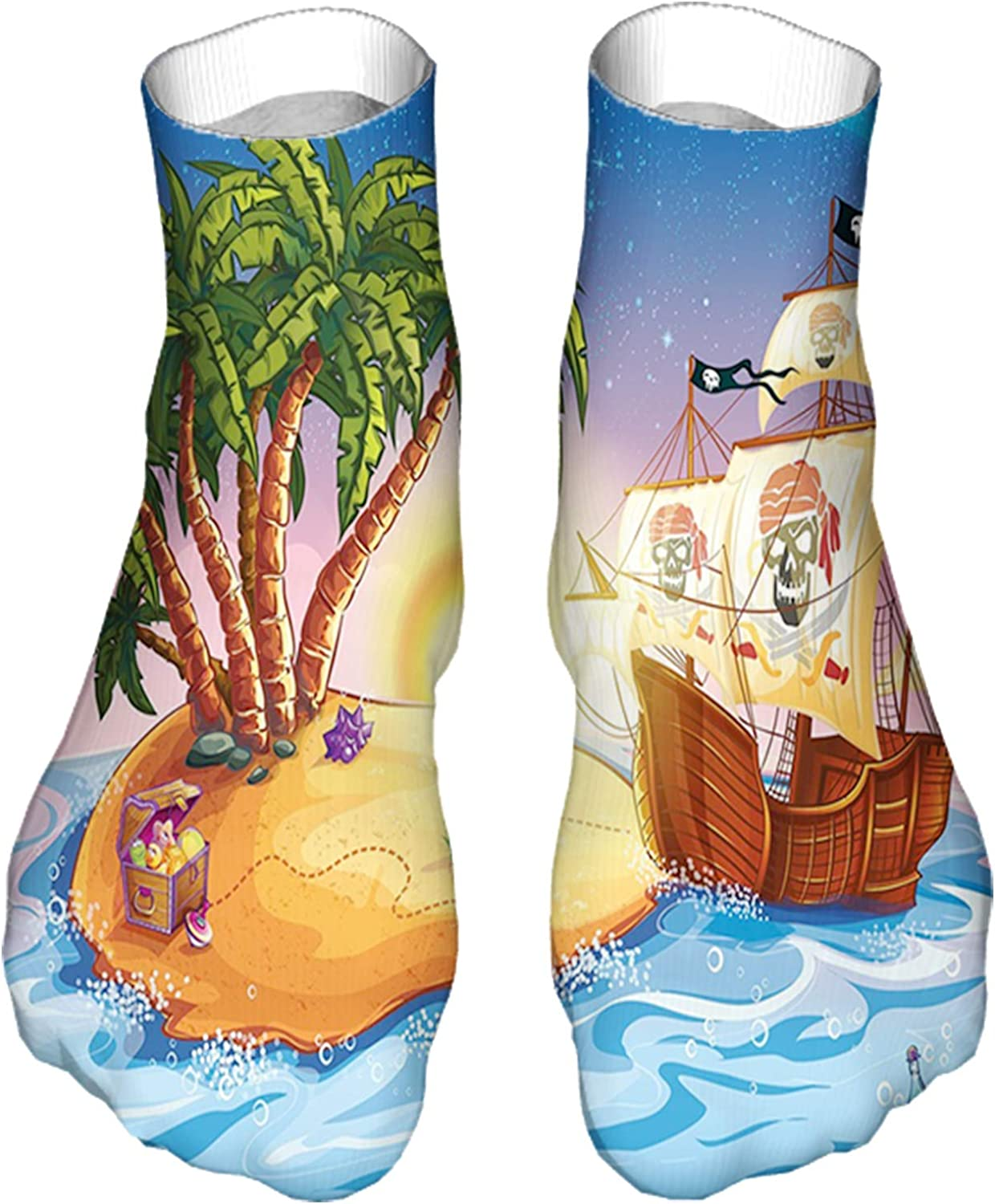 Men's and Women's Funny Casual Socks Ghost Ship on Exotic Sea Near Treasure Island with Palm Tree