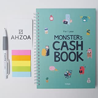 Monster's Cash Book 1year including AHZOA Pencil and AHZOA 5 Colors Sticky Flag, Account Book, 8.3 x 6.3 Inch (Mint)
