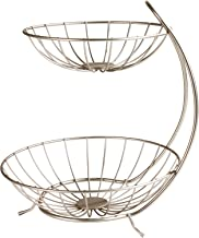 Spectrum Diversified Yumi Arched Server Stacked, 2-Tier Bowls, Dining Table & Kitchen Counter Organizer, Modern Fruit Basket Stand, Satin Nickel