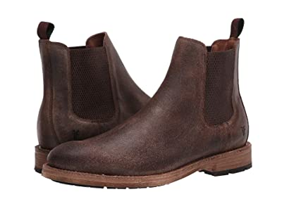 Frye Bowery Chelsea (Chocolate Waxed Vintage Suede) Men