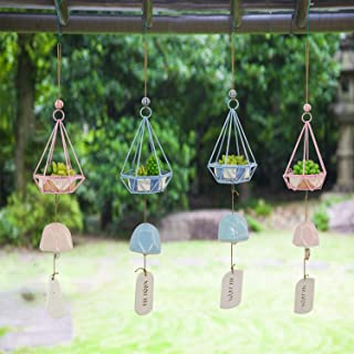 Ceramic Wind Chimes, Cute Wind Chimes, Potted Artificial Succulent Plants Wind Chimes for Garden,Patio, Home or Outdoor De...