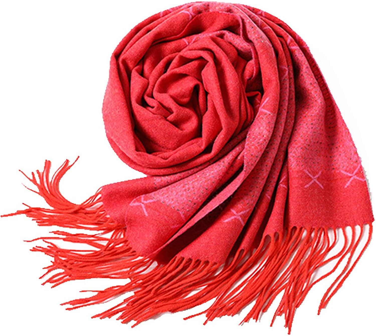HUIFANG Red Jacquard Cashmere Scarf European and American Style Tassel Plain Pattern Men's and Women's Solid color Warm Fashion Yarn Shawl Soft and Comfortable 65  200cm A