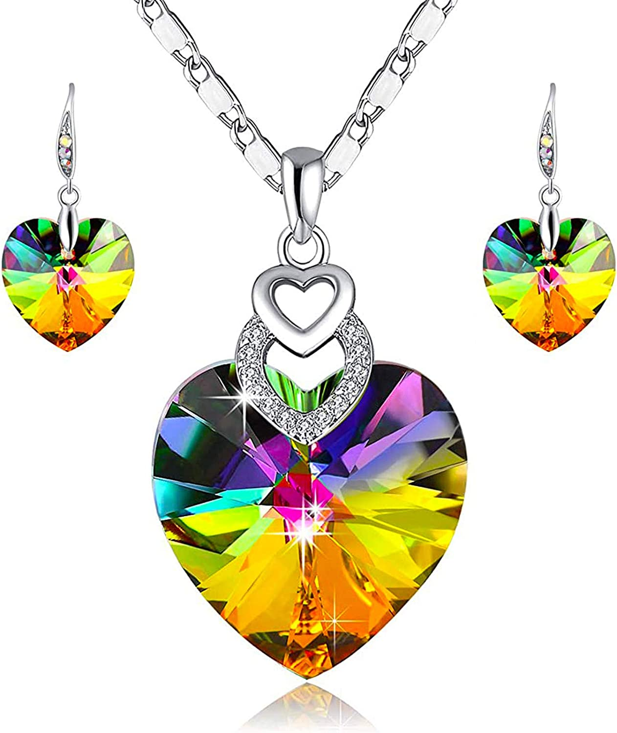 PLATO H 3 Heart Jewelry Set Crystals for Max 85% OFF Christmas Wome Memphis Mall Gift