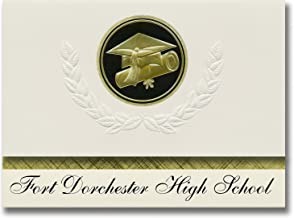 Signature Announcements Fort Dorchester High School (North Charleston, SC) Graduation Announcements, Presidential Elite Pack 25 Cap & Diploma Seal Black & Gold