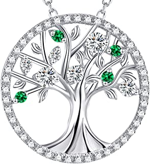 Christmas Jewelry Created White Simulated Green Emerald Diamond Pendant Sterling Silver Birthday Jewelry for Women Teen Girls Mom Wife Anniversary Gifts for Her Love Family Tree of Life Necklace