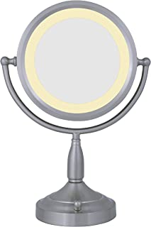 Zadro 8X/1X Dual-Sided Lighted Vanity Mirror, Satin Nickel