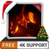 無料の暖かい暖炉HD-HDR 4Kテレビ、8Kテレビ、火のデバイスで、クリスマスホリデーの寒い冬の夜を壁紙と調停と平和のテーマとしてお楽しみください