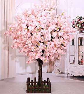 j-beauty Cherry Blossom Tree Thick Flower Sakura Tree Artificial Plant for Indoor/Outdoor/Party/Restaurant/Mall, Real Tree Trunk and Silk Flower (6ft T)