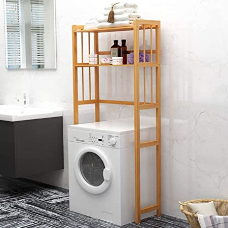 House of Quirk Bathroom Cabinets 2 Tier Space Saver Bathroom Storage Rack Multifunctional Organizer Bamboo Toilet Floor Cabinets (Size : 70 x 26 x 150cm)