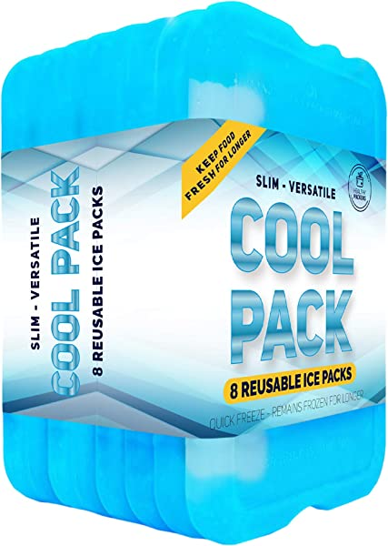 Healthy Packers Ice Pack For Lunch Box Freezer Packs Original Cool Pack Slim Long Lasting Ice Packs For Your Lunch Or Cooler Bag Set Of 8
