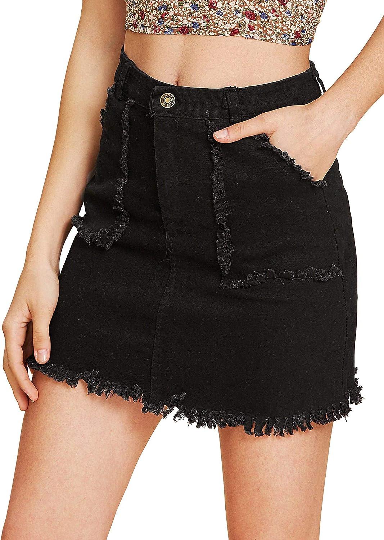 UUpipa Women's Junior Casual Distressed Ripped Short Jean Skirt A-Line Raw Hem Short Denim Skirt