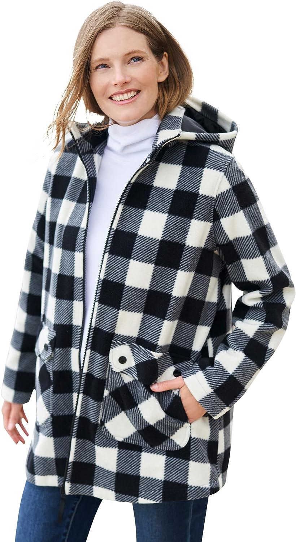 Woman Within Women's Plus Size Hooded Fleece Coat