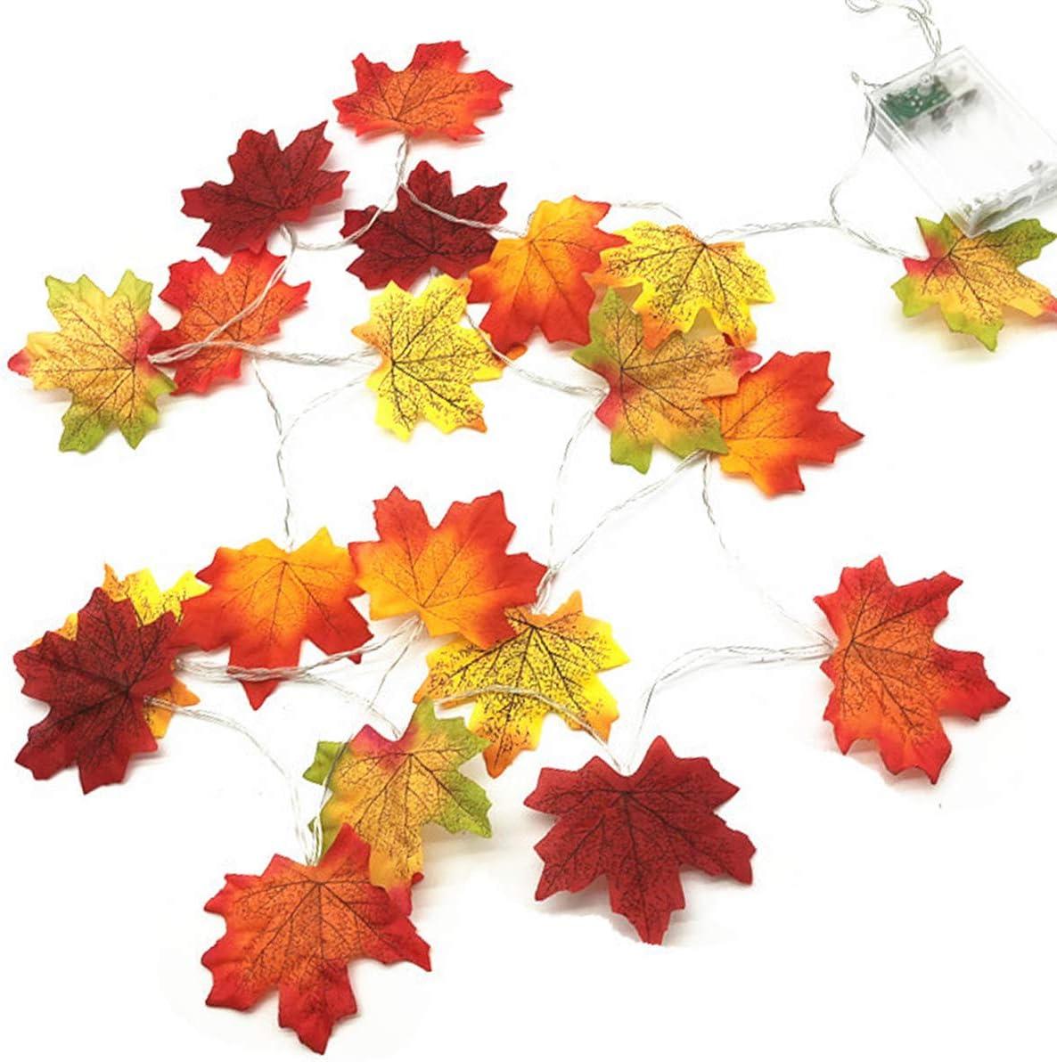 30 LED Light Fall Thanksgiving Maple Leaves Lamp Garland Charming Festival Decor