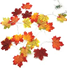 Fall Decorations, Autumn Garland Lighted Fall Decor Wreath, 30 LED Maple Leaves Fairy String Lights for Thanksgiving, Chri...