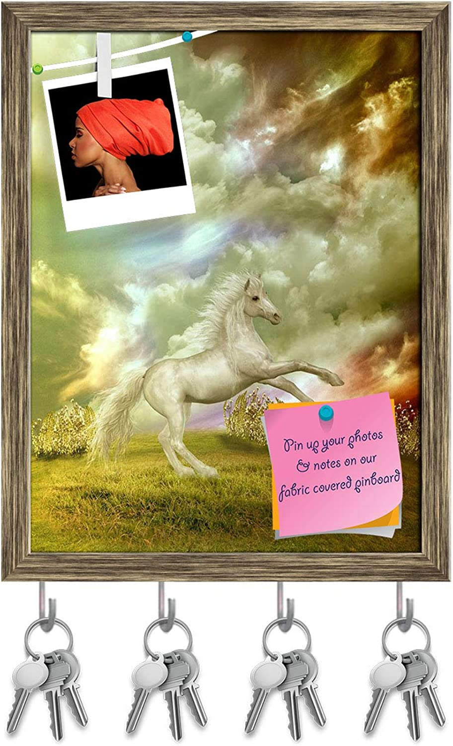 Artzfolio White Horse in The Field in Stormy Day Key Holder Hooks   Notice Pin Board   Antique golden Frame 12 X 15.7Inch