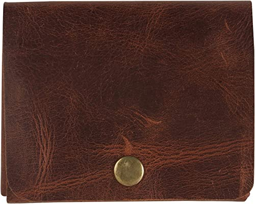 Men S Leather Slim Wallet With Stitchless Handcrafted Crushed Brown