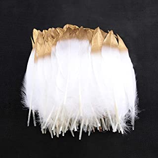 Sowder Natural Goose Feathers Clothing Accessories Pack of 50 (Gold Dipped White)