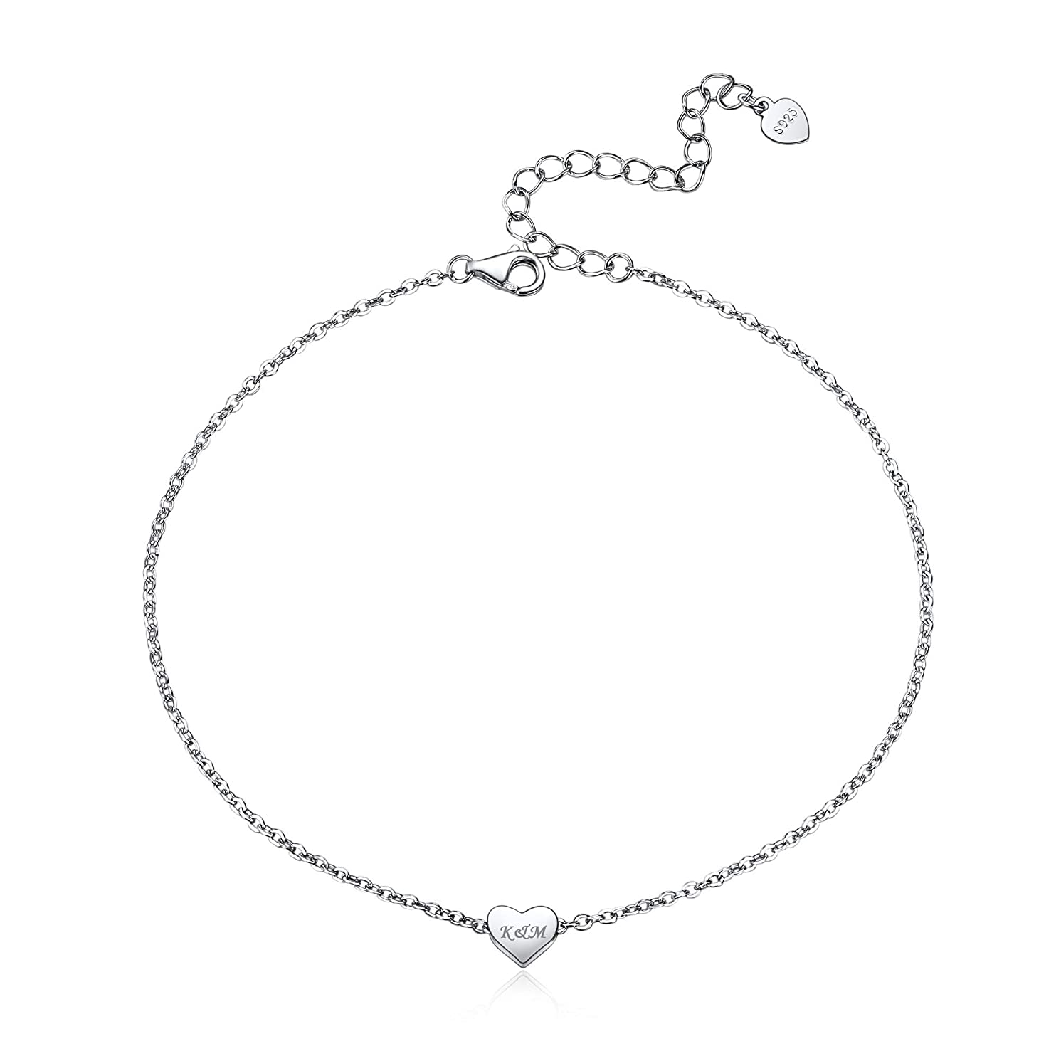 ChicSilver Personalized 925 Sterling Silver Minimalist Heart Love/Star of David Anklet Bracelet, Custom Couple/Lover Name Engravable Jewelry for Women Girls