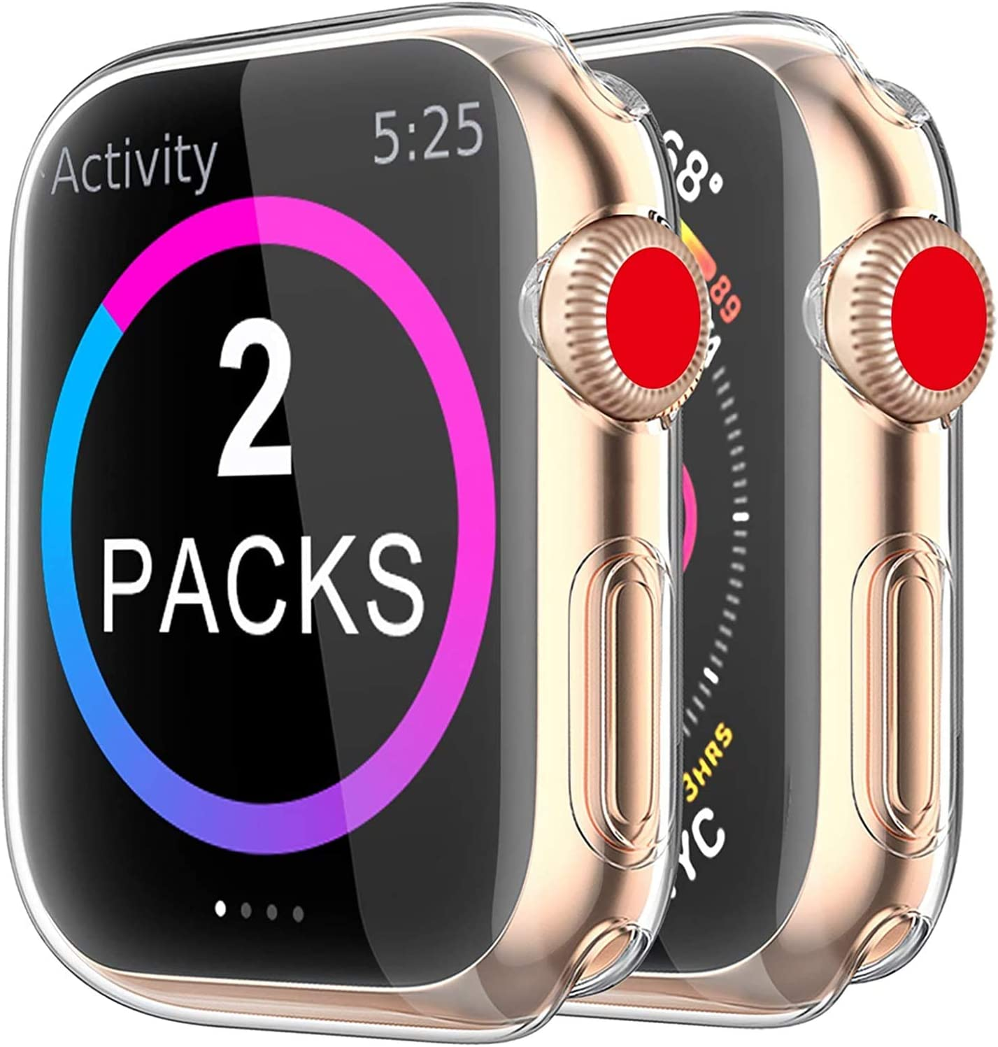 BRG Case for Apple Watch Series SE 6 5 4 Screen Protector 40mm, [2 Pack] Soft TPU HD Clear Ultra-Thin Overall Protective Cover Case for iWatch Series 6/5/4 SE 40mm