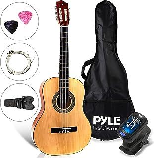 """گیتار کلاسیک آکوستیک 30 """"گیتار کلاسیک - 6 رشته Junior Linden Wood گیتار سنتی w / Fretboard چوبی، کیسه کیف، تسمه، تونر، رشته نایلون، ریش، بزرگ برای مبتدی، کودکان - Pyle PGACLS30"""