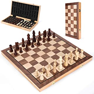 Wooden Chess Set 15 In, MagneticFolding Portable Compact Travel Chess Board Handcrafted Set, Beautifully Carved Pieces + ...