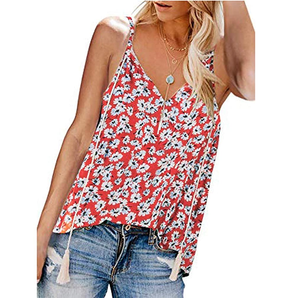 Women's Print Camisole Adjustable Down V Neck Vest Strap Tassel Loose Casual Sleeveless Tank Top