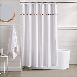 JAWO Pompom Trim Shower Curtain 60X70