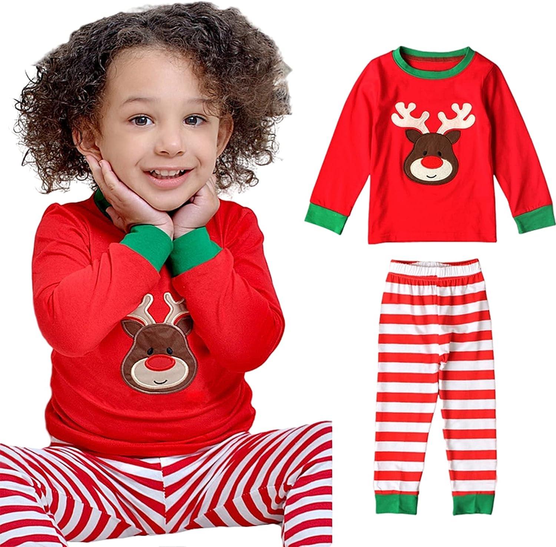 Kids Xmas Toddler Baby Boy Girl Deer Print Long Sleeve Shirt + Pants Christmas Outfit Clothes Set